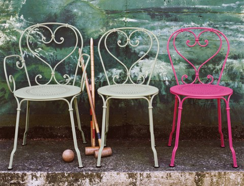 1900 armchair and chair in Willow Green and chair in Fuschia