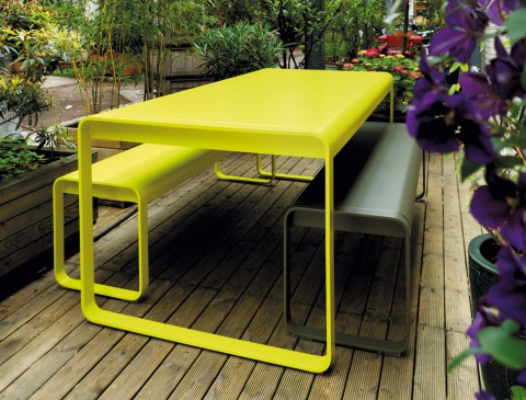 Bellevie table and bench in Verbena Green (with bench in Savanna - discontinued colour)