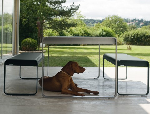 Bellevie table and bench (avec chien)