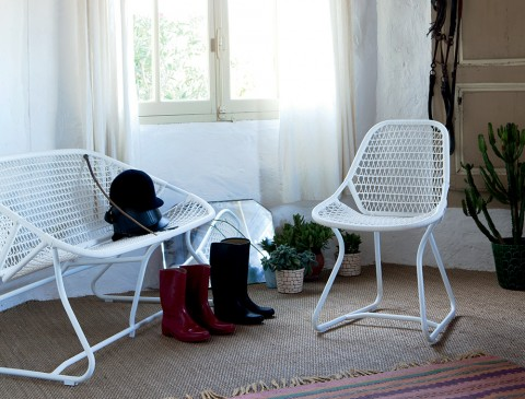 Sixties bench & chair in Cotton White