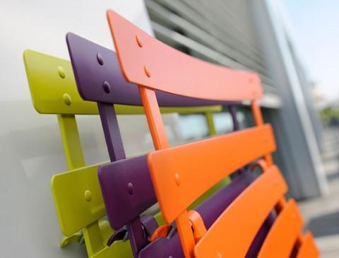 Bistro chairs in (l-r) Verbena Green, Aubergine & Carrot