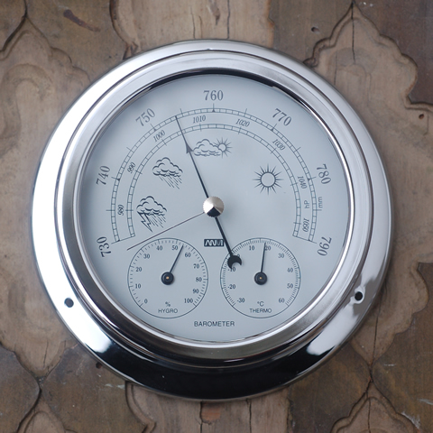 Chrome Barometer with Temperature and Hydration
