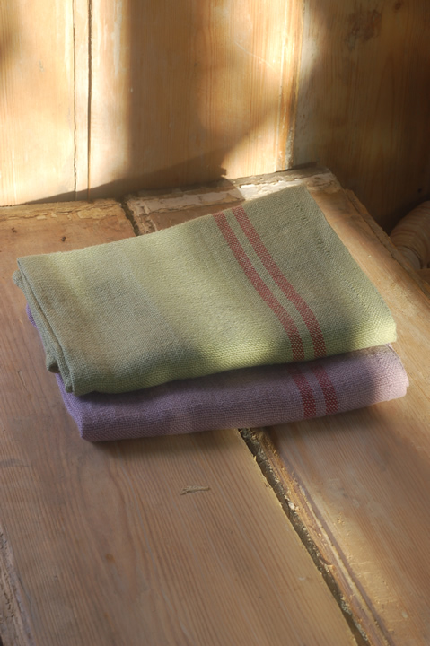 Washed French linen tea towel (top: pistachio with red stripe, bottom: fig with red stripe)