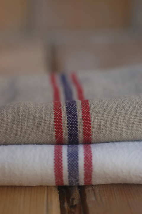French linen tea towel with red & blue stripe