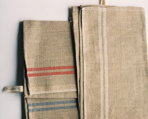 Washed French linen tea towel (lower left: natural with blue stripe, upper left: natural with red stripe, right: natural with ecru stripe)