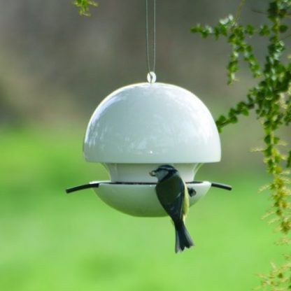 Ceramic ball bird seed feeder in white (Blue Tit not included)