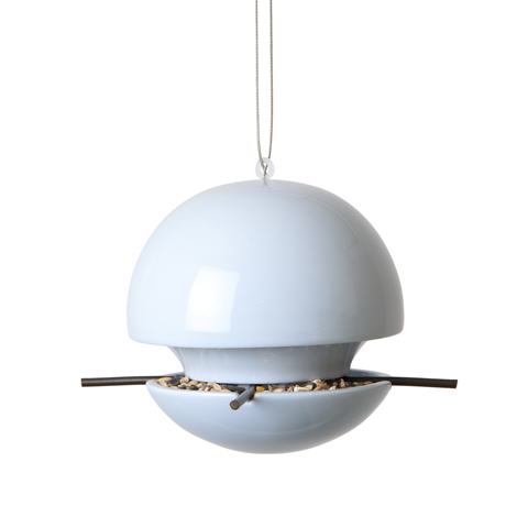 Ceramic ball bird seed feeder in blue