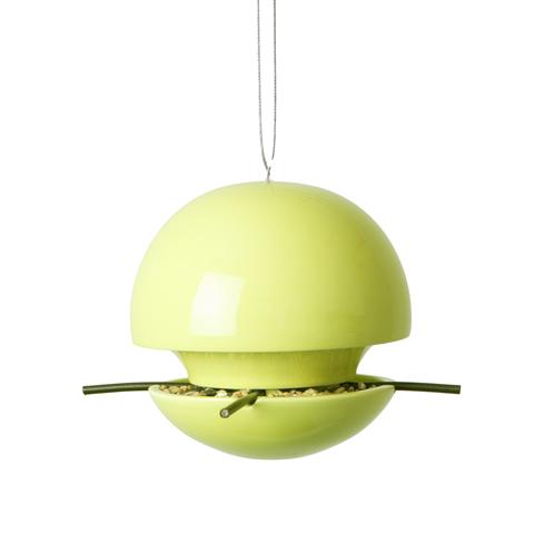 Ceramic ball bird seed feeder in lime
