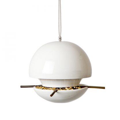Ceramic ball bird seed feeder in white