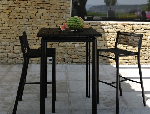 Costa high table and chairs in Liquorice