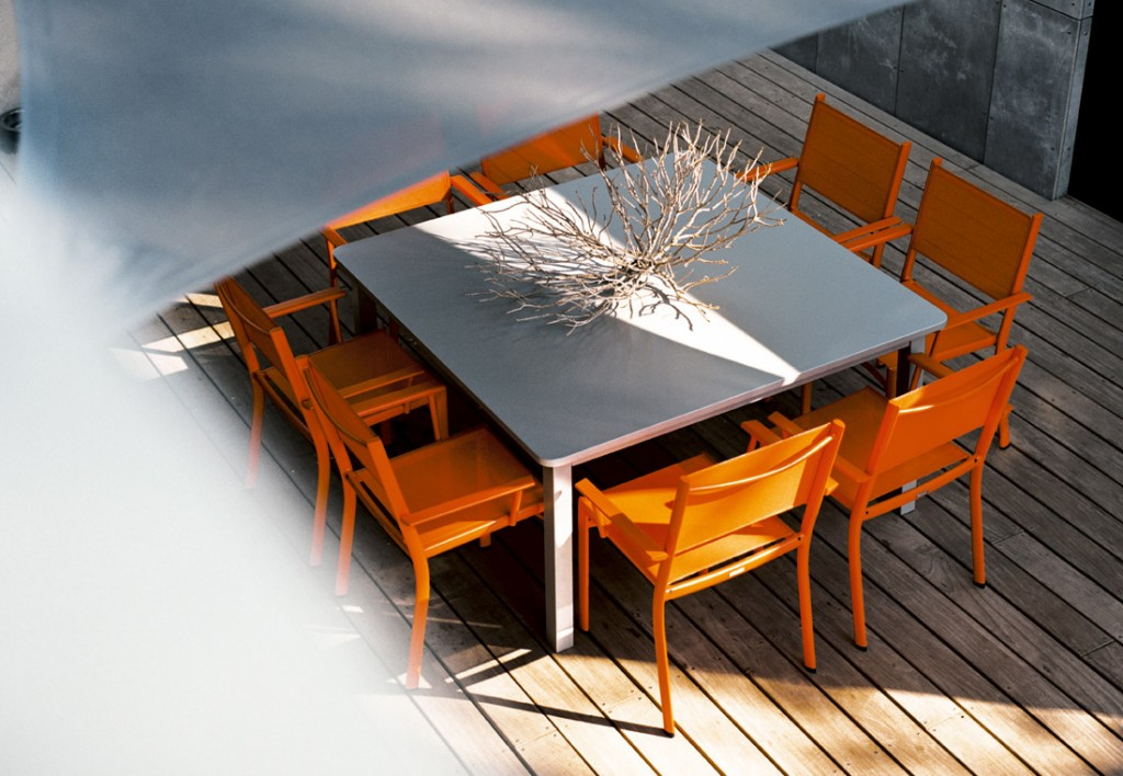 Craft table in Steel Grey with Costa armchairs in Carrot