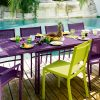 Costa chairs, armchairs and table in Aubergine & Verbena