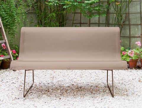 Ellipse two person bench in Nutmeg