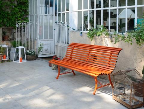 Louisiane bench 200cm in Carrot