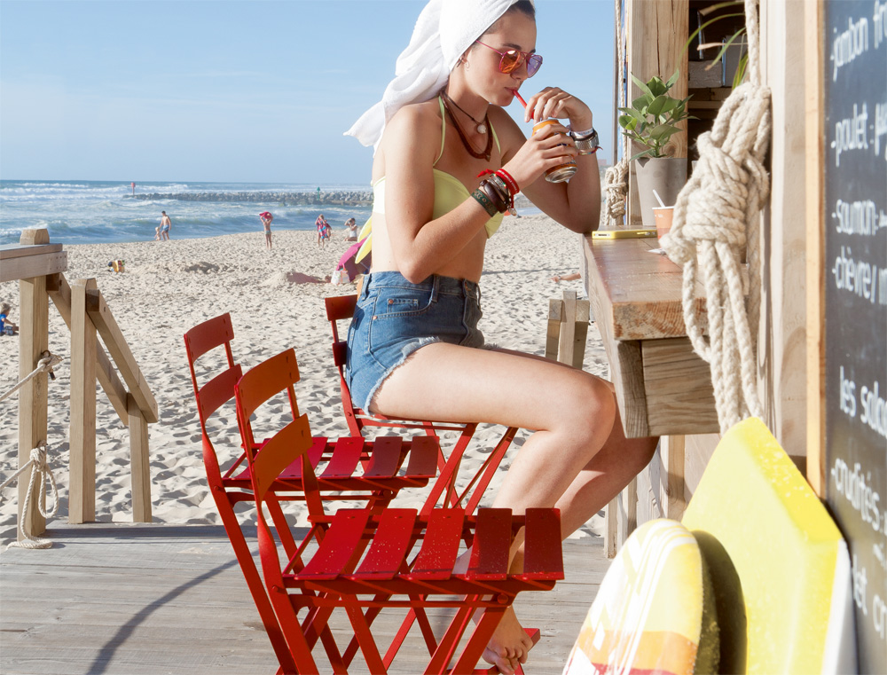 Bistro high chair in Poppy