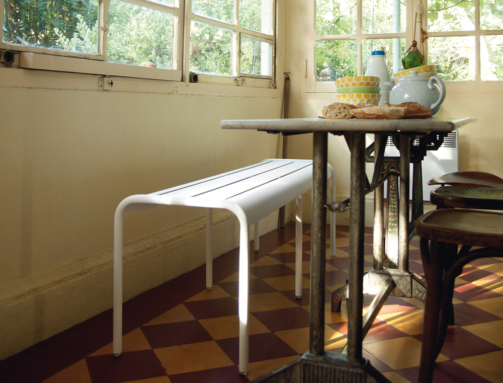 Luxembourg long bench in Cotton White