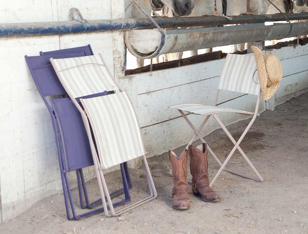 Plein Air chairs in Plum and Ticking