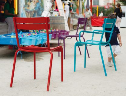Luxembourg chairs in Poppy & Aubergine, armchair in Turquoise