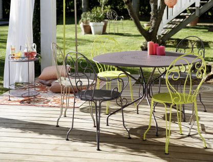 Montmartre table table, chairs, armchairs and portable bar, in Plum, Verbena & Linen
