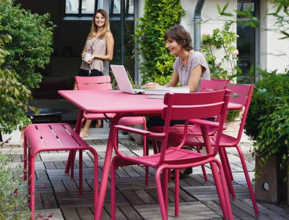 Luxembourg armchairs, chairs, table and bench in Fuchsia