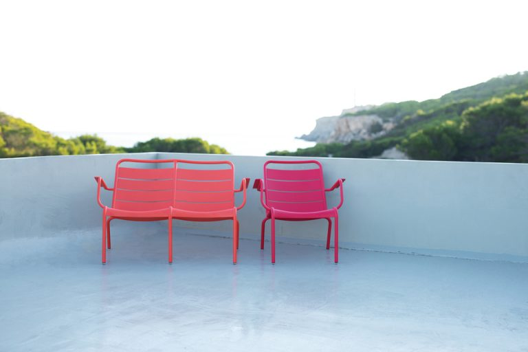 Luxembourg low armchair in Pink Praline and Luxembourg low armchair duo in Capucine