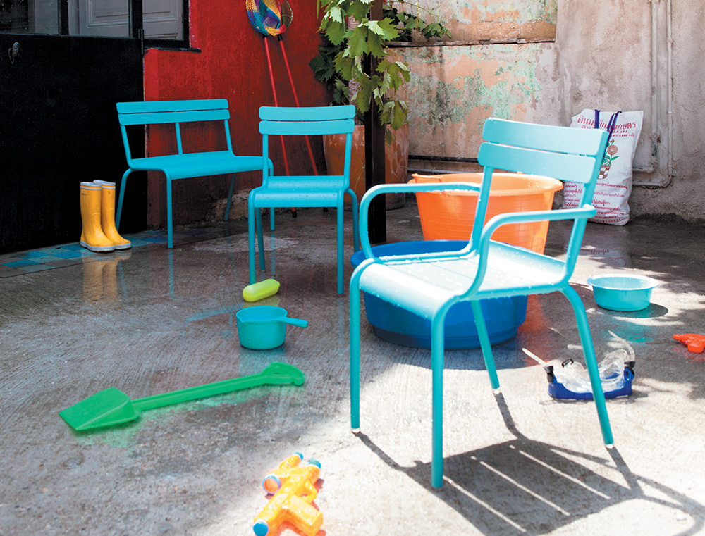 Luxembourg Kid armchair, chair and bench in Turquoise
