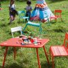 Luxembourg Kid armchairs, chair, bench and table in Turquoise, Cotton White & Capucine