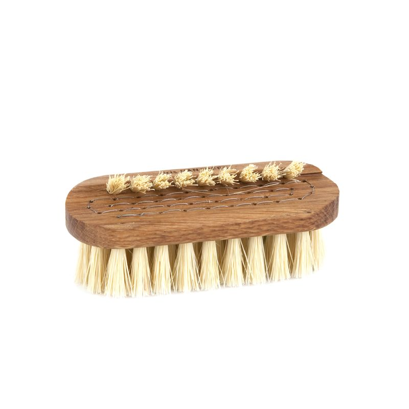 Nail brush; oil treated oak, tampico fibre