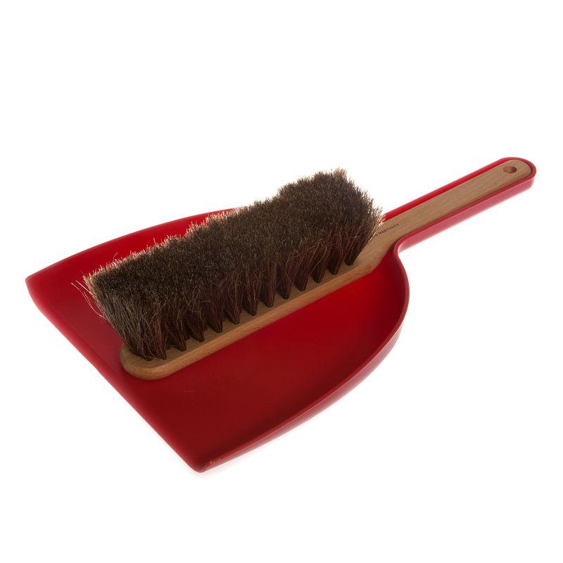 Dustpan & Brush set in red; oil treated beech, horsehair, plastic