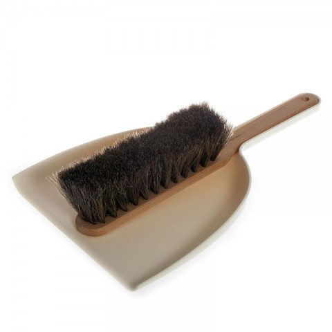 Dustpan & Brush set in linen; oil treated beech, horsehair, plastic