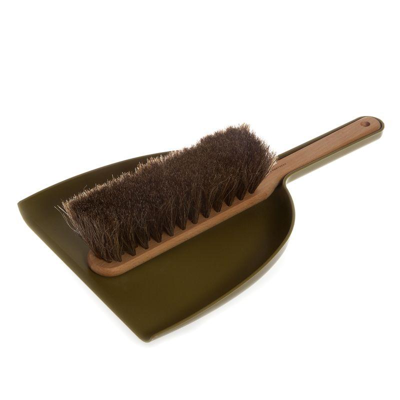 Dustpan & Brush set in olive; oil treated beech, horsehair, plastic