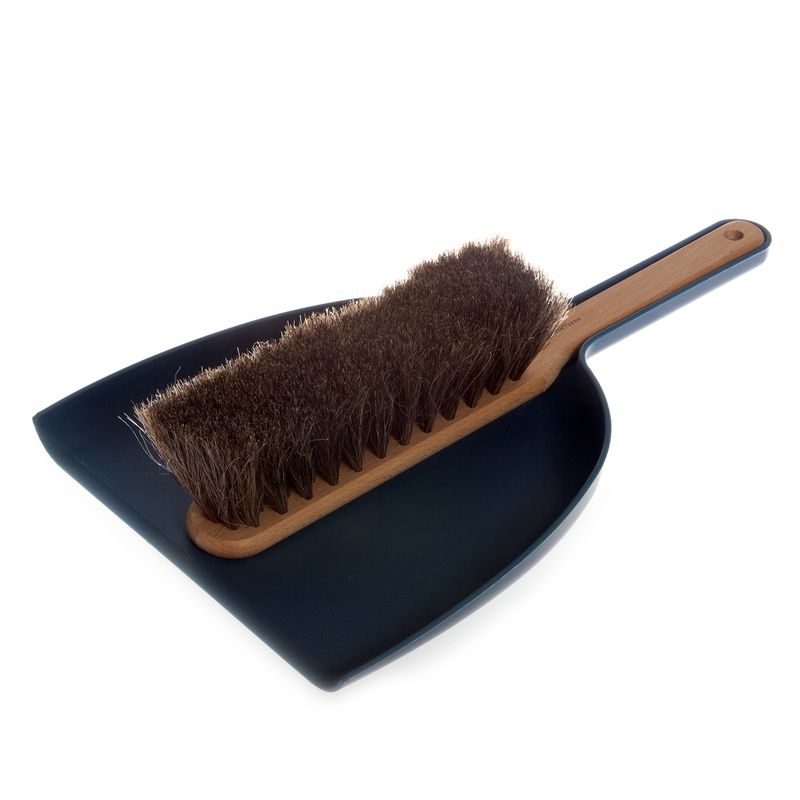 Dustpan & Brush set in blue; oil treated beech, horsehair, plastic