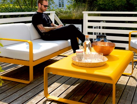 Bellevie sofa, Bellevie low table and Bellevie armchair, all in Honey