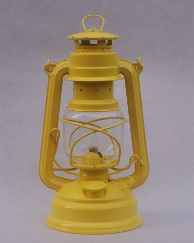 Feuerhand hurricane lantern in Zinc Yellow