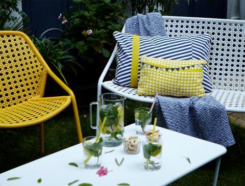 Croisette armchair, Croisette bench & Croisette low table