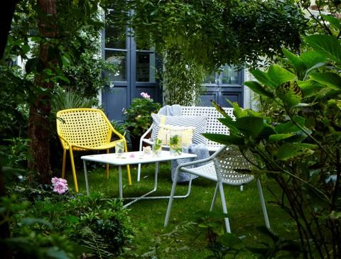 Croisette armchair, bench & table