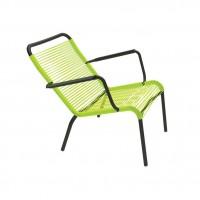 Saint Tropez low armchair in Liquorice frame & Verbena woven seat