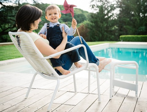 Saint Tropez low armchair & footrest in Cotton White frame & woven seat