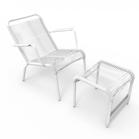 Saint Tropez low armchair & footrest in Cotton White frame & woven seat