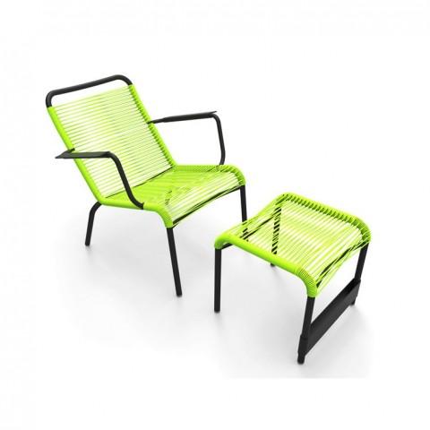Saint Tropez low armchair & footrest in Liquorice frame & Verbena woven seat