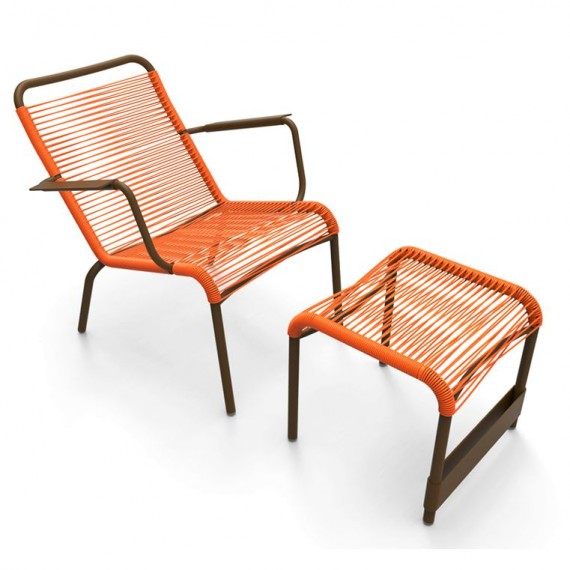 Saint Tropez low armchair & footrest in Russet frame & Carrot woven seat