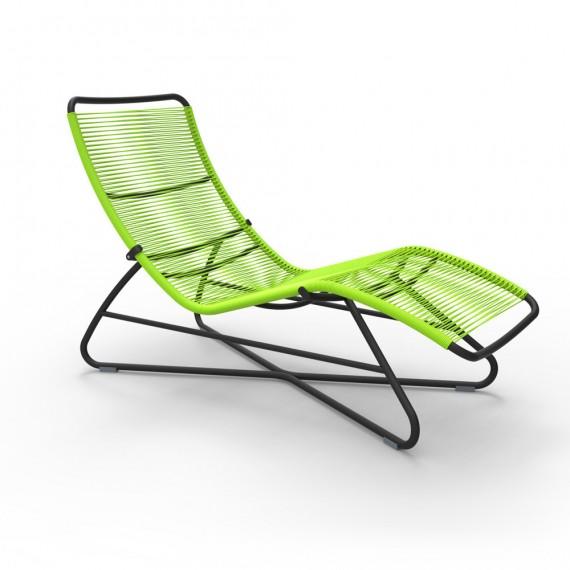 Saint Tropez superlounger in Liquorice frame & Verbena woven seat