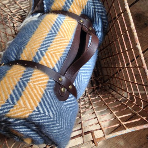 Denim & Mustard fishbone weave picnic blanket