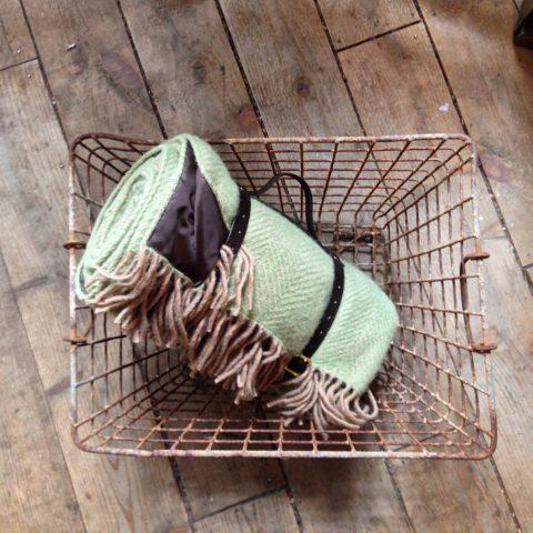 Green & Beige herringbone weave picnic blanket