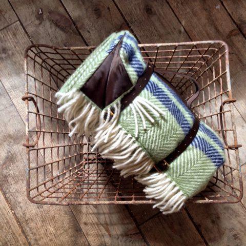 Green & Navy fishbone weave picnic blanket