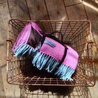 Mulberry & Duck Egg herringbone weave picnic blanket