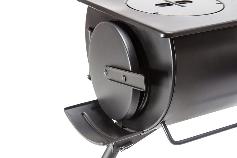 The door to the Loki stove has a catch that allows it to be positioned partly open to allow air flow