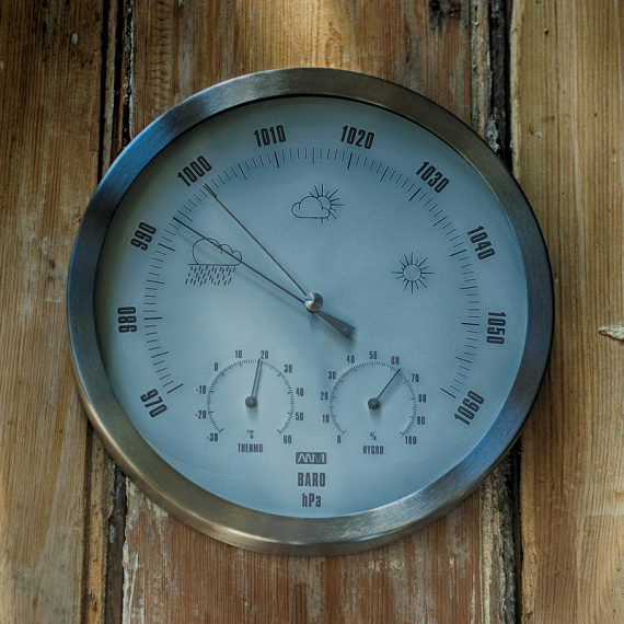 Large barometer, thermometer & hygrometer in brushed stainless steel