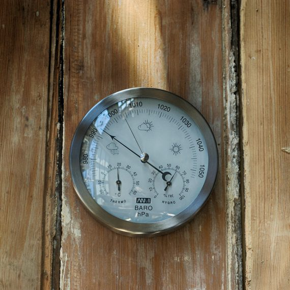 Small barometer, thermometer & hygrometer in brushed stainless steel