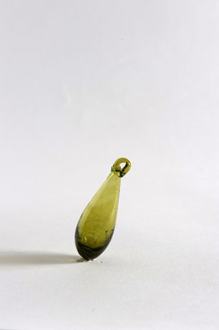 Small Syrian glass drop in olive